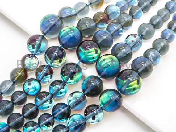 Superb 6-16mm Graduated Blue Flashy Rainbow Manmade Moonstone Graduated Strand, Blue Round Smooth Moonstone, 15.5inch Full strand, SKU#U80
