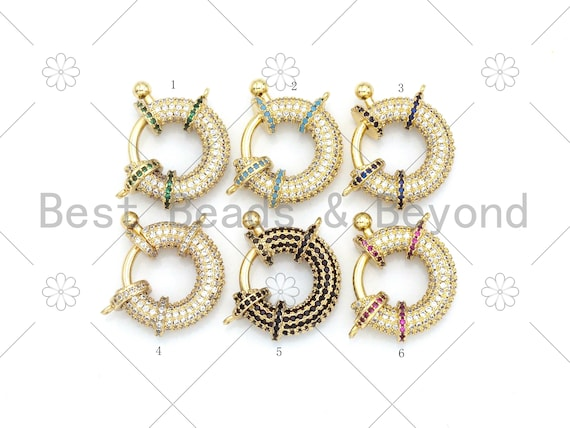 Colorful CZ Pave Spring Gate, 18K Gold Filled Full CZ Round Clasp, Snap Clip Trigger Clasp, Spring Buckle for Chain Purse, 23x18mm,Sku#LK378