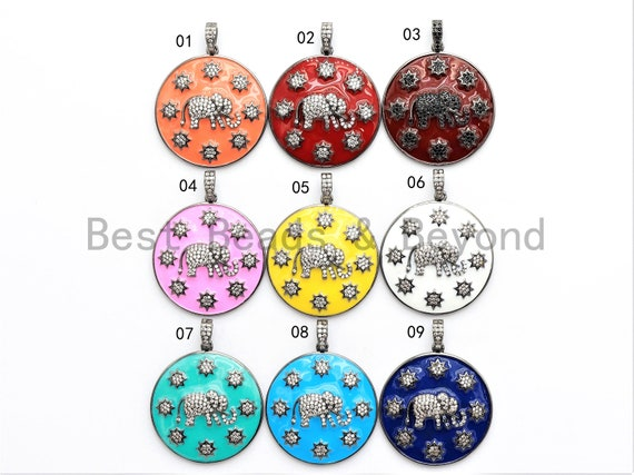 NEW Enamel Colorful Round With Elephant and Stars Pendant,CZ Micro Pave Oil Drop pendant,Enamel pendant,Enamel Jewelry,34x37mm,sku#F570