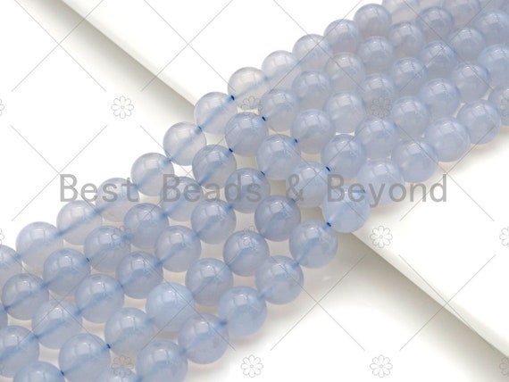 Top Quality Blue Chalcedony Round Smooth Beads, 6mm/8mm/10mm Natural High Polished Chalcedony, 15.5'' Full Strand, Sku#U1014