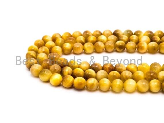 High Quality Gold Tiger Eye Round Smooth Beads, 6mm/8mm/10mm/12mm Round Beads, Gold Tiger Eye Gemstone Beads, 15.5inch Full strand, SKU#U63