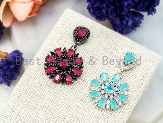 CZ Micro Pave Fuchsia/Turquoise Flower Ear Studs, Flower Earrings, Cubic Zirconia Earrings,18x32mm,1pair, sku#O56