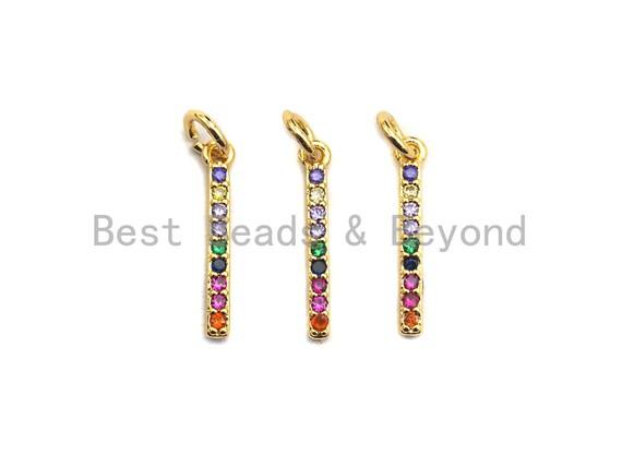 PRE-SELLING Colorful CZ Micro Pave Bar Pendant/Charm, Cz Pave Bracelet Necklace Pendant in Gold Finish, 2x17mm,sku#Z416