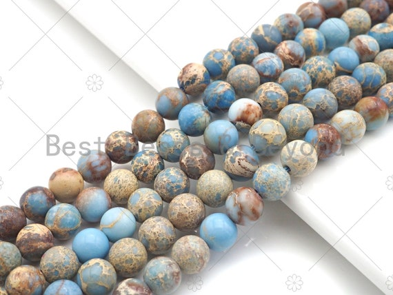 High Quality Light Blue Sea Sediment Imperial Jasper Beads, 6mm/8mm/10mm/12mm Round Smooth Imperial Japser, 15.5'' Full Strand, SKU#UA168