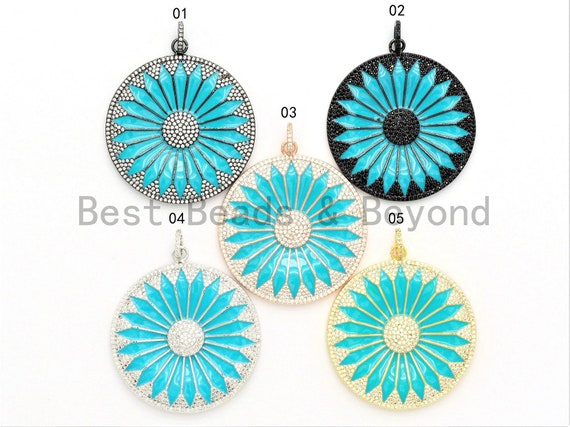 44x49mm LARGE NEW Enamel Turquoise Filigree Flower Pendant,CZ Micro Pave Oil Drop Flower pendant,Enamel pendant,Enamel Jewelry,sku#F582