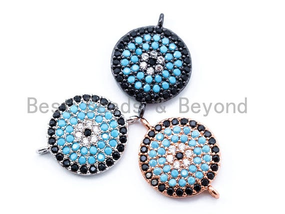CZ Micro Pave Turquoise Round Coin Connector, Cubic Zirconia Paved Coin Evil Eye Space Connector, 17x12mm, sku#E185