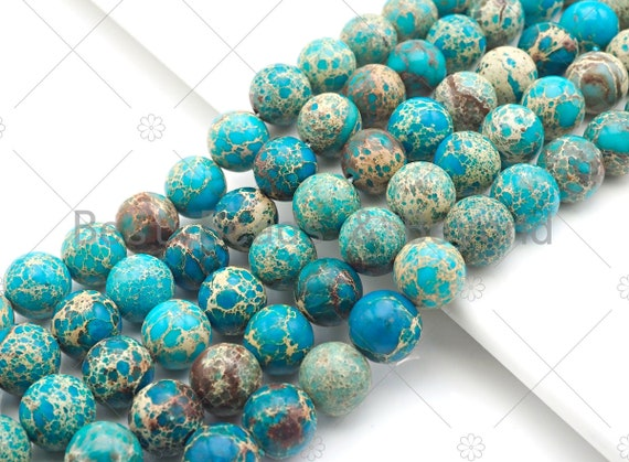 High Quality Turquoise Blue Sea Sediment Imperial Jasper, 6mm/8mm/10mm/12mm Round Smooth Imperial Japser, 15.5'' Full Strand, SKU#UA169
