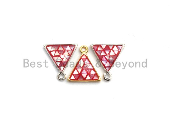 100% Natural HOT PINK Color Shell Triangle Shape Pendant/Charm, Gold/Silver Finish, Pink Shell Charm, Shell beads, 11x12mm,SKU#Z311