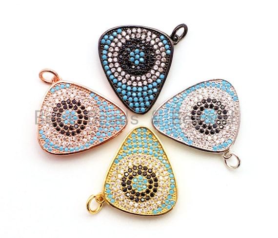 CZ Micro Pave Triangular Evil Eye Pendant/Charm, Cubic Zirconia Pendant, 22x23mm, sku#F15