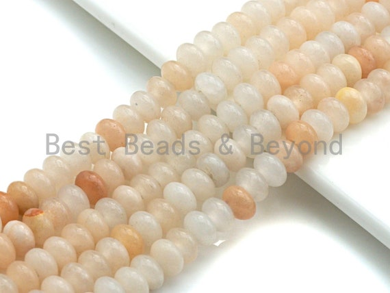 "2mm Large Hole Natural Pink Aventurine Beads, Rondelle Smooth 5x8mm, 8"" Long Strands, sku#U712"