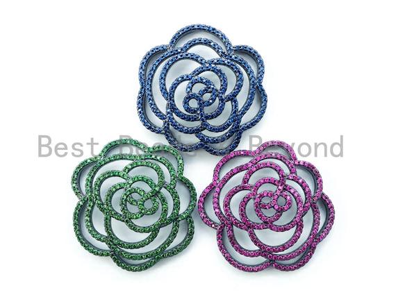 CZ Micro Pave Rose Brooch Flower Tassel Head/Pendant Connector, Black Rhodium Plated Pendant,Floral Pendant Findings, 36x33mm, 1pc, sku#L136