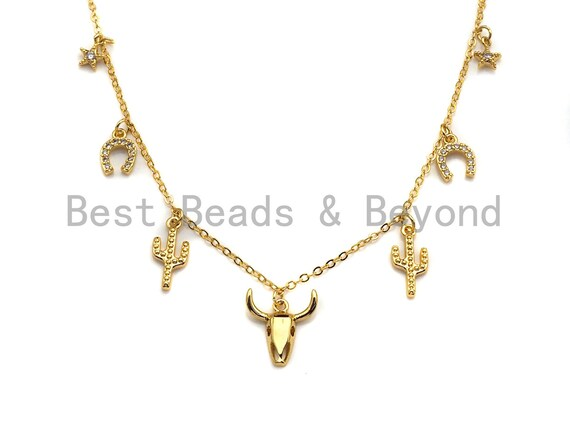Gold Cow Bull OX Head Charm Necklace, Cactus Charm Gold Necklace, Layering Necklace, Star Necklace, Dainty Necklace, sku#Z705
