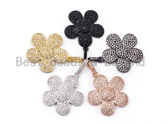 25mm CZ Micro Pave Daisy Flower Pendant/Charm, Cubic Zirconia Pave Floral Pendant in Gold Rose Gold Black Sliver Finish, 1PC/2PCS, sku#F348