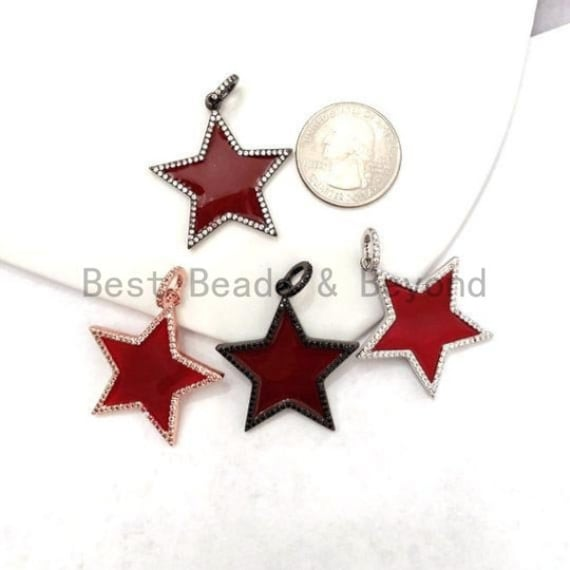 32mm Red Enamel Five Point Star Pendant/Charm, Enamel CZ Pave Star Charm, Gold/Rose Gold/Silver/Black Plated, sku#F580S