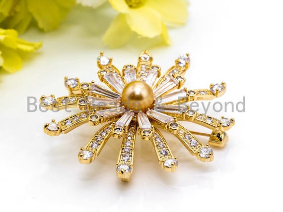 Delicate CZ Micro Pave  Large Flower Brooch Pin Pendant with 8mm  Shell Pearl, Gold Tone Pave Flower Brooch Pin Jewelry, 47x49mm, Sku#P38