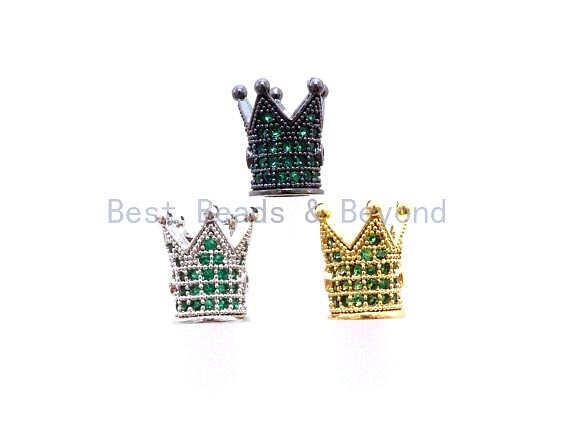 CZ King Crown Green Micro Pave Beads, Cubic Zirconia Crown Space Beads,Men's Women's Jewelry Making, 10x8mm, Sku#G404