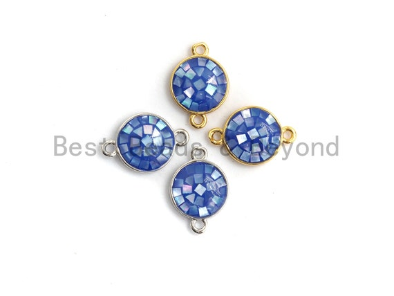 100% Natural Blue Shell Round Connector with Gold/Silver Plated Edging, Natural Blue Shell, Shell beads, 10x15mm,SKU#Z278
