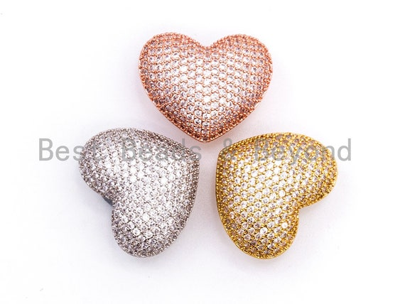 CZ Micro Pave Heart Clasp, Cubic Zirconia Jewelry Clasp/Fastener/Shortener, Jewelry Buckle, Magnetic Jewelry Findings, 22x27x14mm,sku#H105