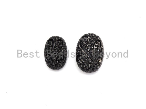 PRE-SELLING Black Cz Pave On Black  Micro Pave Oval Spacer Beads with Flower Pattern, Black CZ Pave Beads ,11x16/13x18mm, sku#G417
