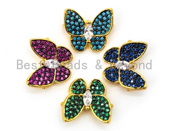 CZ Micro Pave Butterfly Connector for Bracelet/Necklace, Cubic Zirconia Space Connector, Turquoise/Fuchsia/Cobalt/Green,13x15mm, sku#E325