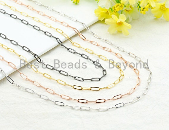 4x11mm Paper Clip Chain by Yard, Slim Oval Link Chain, Gold/ Gunmetal / Silver/ Rose Gold Brass Paper Clip Chain,sku#E503