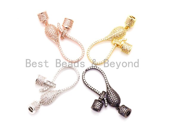 CZ Micro Pave S Lobster Hook Clasp Connector for Knotting and Threading 48x14mm, Cubic Zirconia Clasp, Clasp/Connector/Pendant,sku#H51