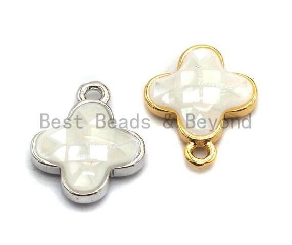 100% Natural White Shell Clover Pendant/charm White Gold Silver Charm, Shell Flower Pendant, Shell Jewellery, 10x13mm,SKU#Z331