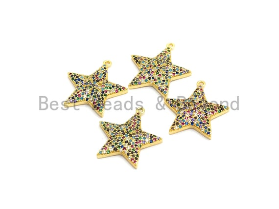 Multi-Color CZ Micro Pave Five Star Pendant, Star Shaped Pave Pendant, Gold plated, 23x24mm, Sku#B108