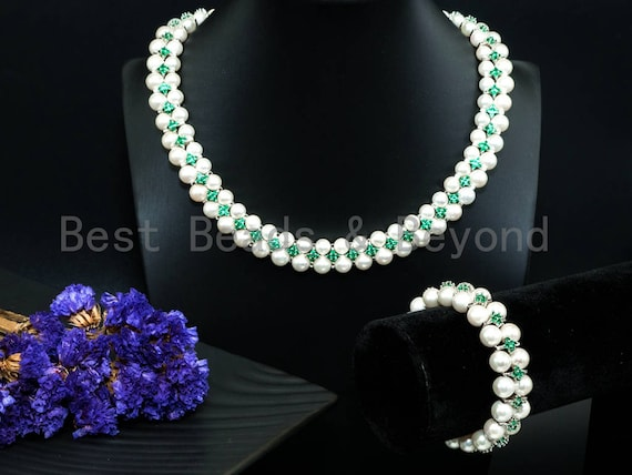 Green Cubic Zirconia& Mother of pearl necklace and bracelet set, Pearl Jewelry set, Bridal Jewelry, Double Strand Statement Jewelry, SKU#P17