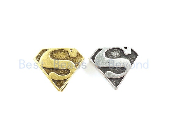 Antique Style Superman Symbol Bead, For 550 Paracord Survival Bracelet, Men's Bracelet Beads, Paracord KeyChain Beads, 17mm, 1pc, sku#Y130