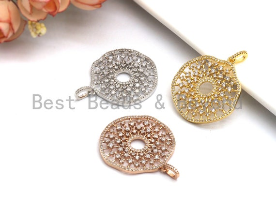 PRE-SELLING Large CZ Micro Pave Filigree Hollow out Flower Pendant, Cubic Zirconia Rose Gold/Silver/Black Focal Pendant, 33x35mm,sku#F637