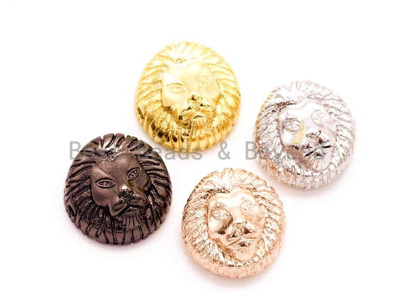 CZ Micro Pave 13mm Lion Head Animal Beads,CZ Spacer Beads in Gold Black Silver Rose Gold Finish,Men's Jewelry Findings, 1pc/2pcs sku#G175