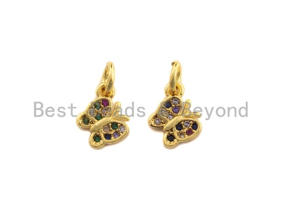 PRE-SELLING CZ Colorful Micro Pave Butterfly Shape Pendant, Butterfly Pave Pendant, Gold plated, 7x8mm, Sku#Z700