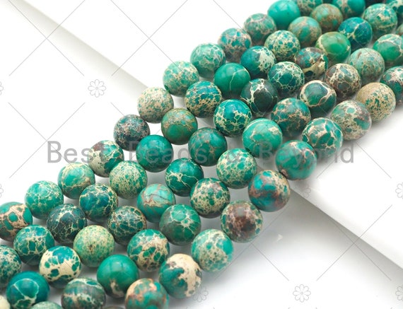 High Quality Green Sea Sediment Imperial Jasper Beads, 6mm/8mm/10mm/12mm Round Smooth Imperial Japser, 15.5'' Full Strand, SKU#UA170