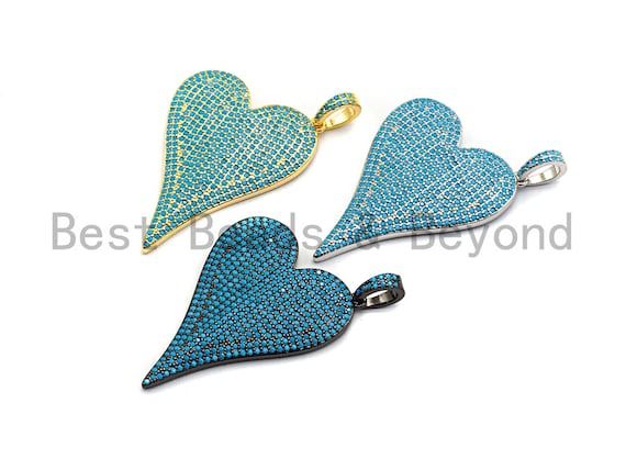 CZ Turquoise Micro Pave Large Heart Pendant, Heart Shaped Pave Pendant, Gold/Rose Gold/Silver/Gunmetal plated, 30x41mm, Sku#X55