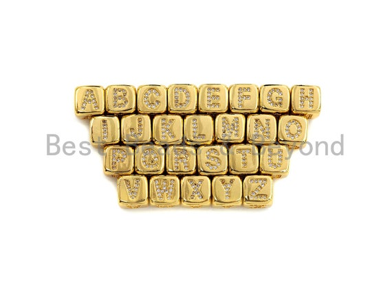 PRE-SELLING Alphabet CZ Micro Pave Cube Large Hole Spacer Beads, Cubic Zirconia Spacer Beads, Gold Initial Letter Beads, 8.5mm,sku#Z702