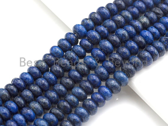 "2mm Large Hole Lapis Beads, Rondelle Smooth 6x10mm, 8"" Long Strands, sku#U714"