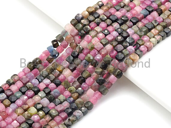 "High Quality Natural Tourmaline Beads, 4mm Tourmaline Cube Faceted Beads, 16"" Full strands, sku#U767"