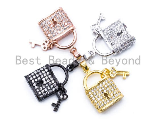 CZ Micro Pave Lock with Key Pendant, Cubic Zirconia Necklace Bracelet Pendant/Charm, 26x14mm,1pc/2pcs sku#F155