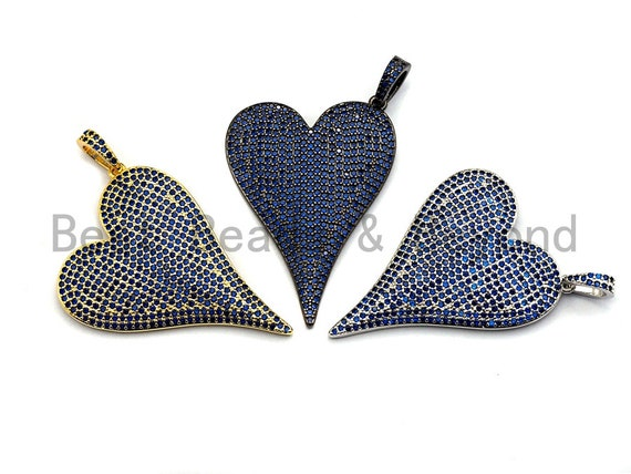 CZ Cobalt Micro Pave Large Heart Pendant, Heart Shaped Pave Pendant, Gold/Silver/Gunmetal plated, 30x41mm, Sku#X54