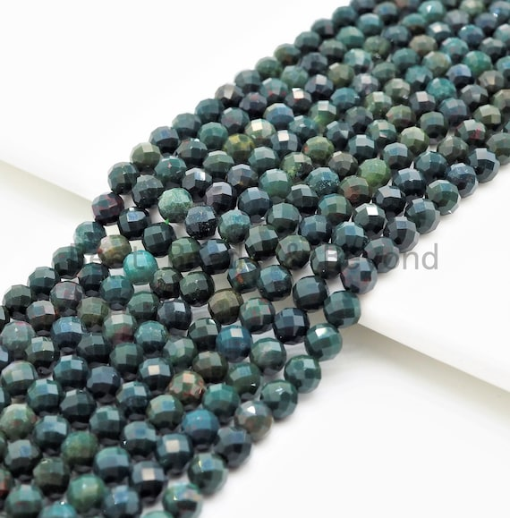 High Quality Natural Faceted Round Blood Stone beads, 3mm/4mm/5mm Natural Gemstone beads,Green Natural BloodStone, 15.5inch strand, SKU#U364