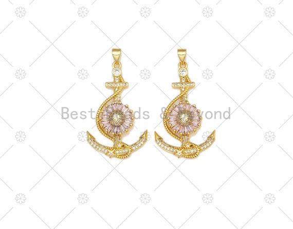 CZ Micro Pave Boat Anchor Shape Pendant, 18K Gold Filled Big Pink CZ Flower Charm, Necklace Bracelet Charm Pendant,22x36mm, Sku#LK472