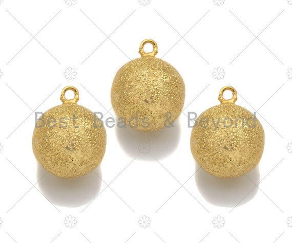 Brushed Gold Sphere Ball Shape Charm/Pendant, Gold Sphere Shape Charm, Brushed Gold Pendant, Gold plated charm,14 mm, Sku#Y324