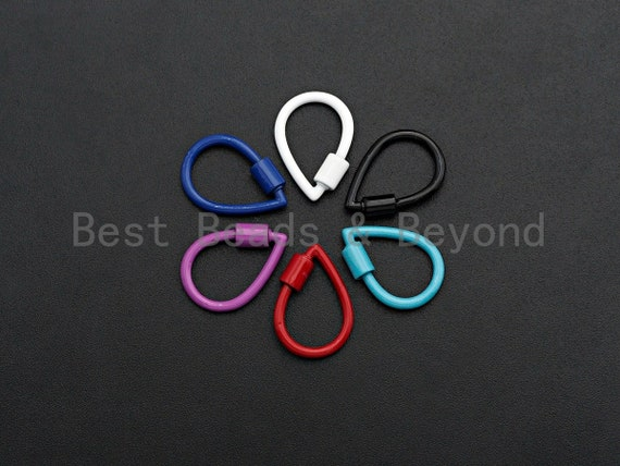 PRESELLING CZ Micro pave Teardrop Shape clasp, Enamel Clasp, White/Black/Royal Blue/Red/ Purple/Turquoise Screw Clasp,14x20mm, sku#H217