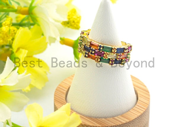 PRE-SELLING Colorful CZ Micro Pave Baguette Rainbow Open Ring, Cubic Zirconia Gold Ring, Adjustable Ring, 8x22x17mm,sku#X72