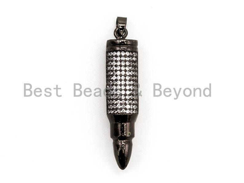 CZ Micro Pave Bullet Pendant Cubic Zirconia Bullet Head Pendant for Necklace Bracelet Making,Men/'s Jewelry Making Findings 8x36mm,sku#Y42