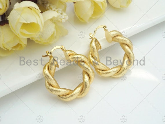 Matte Gold Twisted Hoop Earrings, Bold Gold Hoop Earrings, Chunky Earrings, Statement Hoops, Hoops Earring gift for her, 30mm, sku#J294