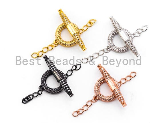 CZ Rhinestone Micro Pave Toggle Clasp,Silver/Gold/Rose Gold/Gunmental Plated, Enhancer Clasp, 26x14mm, 1set, SKU#K64