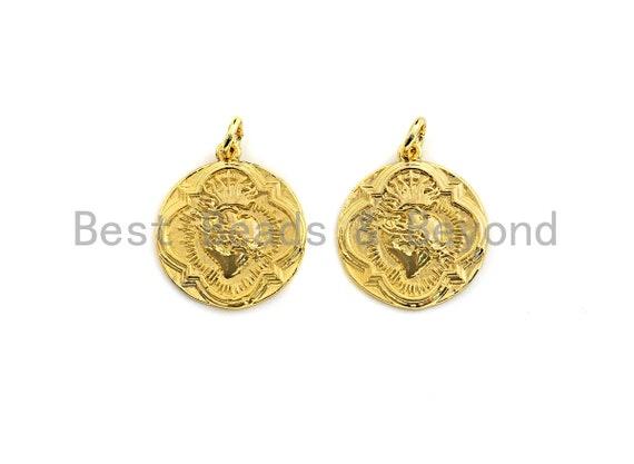 Medallion heart Pendant, Embossment Disc Pendant, Cubic Zirconia Pendant, Gold Tone, 18x20mm, Sku#Z692