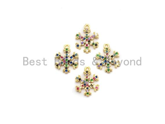 Multi Color CZ Micro Pave Snowflake Charm,Snowflake Shaped Pave Pendant, Gold plated, 14x11mm, Sku#B107